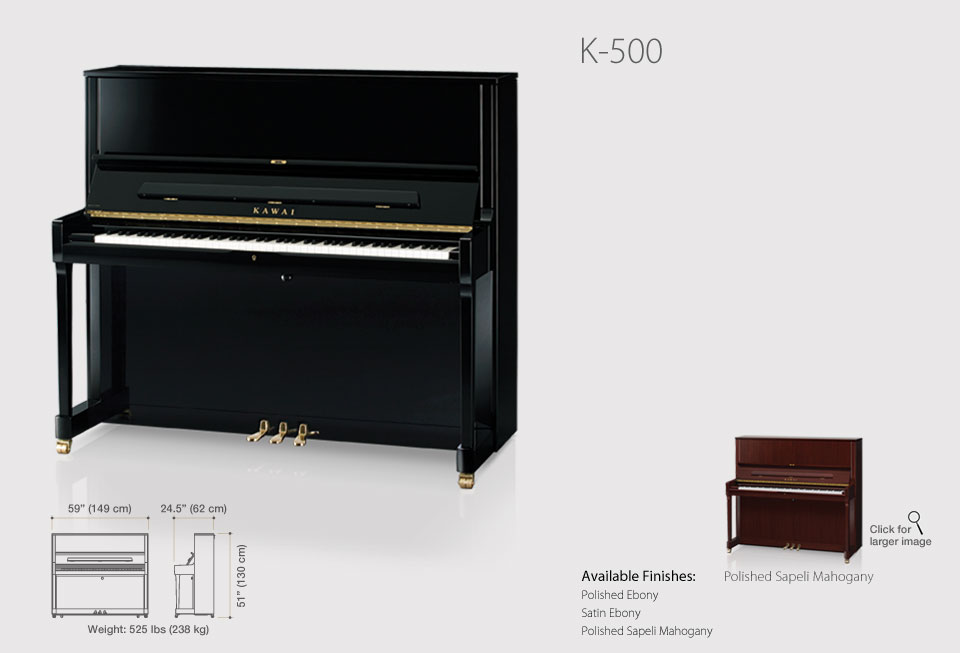 Kawai K Series Professional Upright Pianos >> Kawai K Series Professional Upright Pianos K 500 Professional Upright
