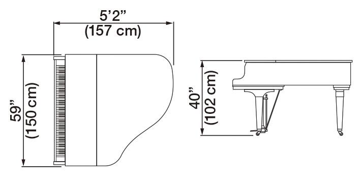 Kawai GL-20 Grand Piano Dimensions
