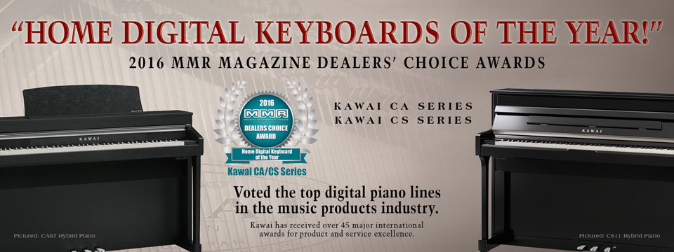 Kawai CA/CS Series Digital Pianos Voted Home Digital Keyboards of the Year by the readers of MMR Magazine.