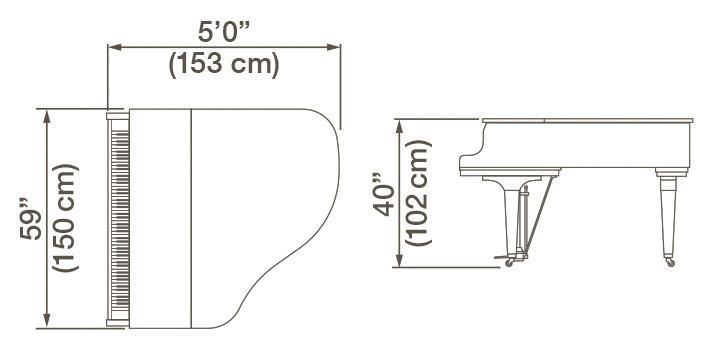 Kawai GL-10 Grand Piano Dimensions