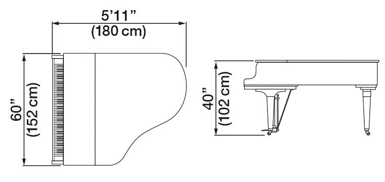 Kawai GL-40 Grand Piano Dimensions