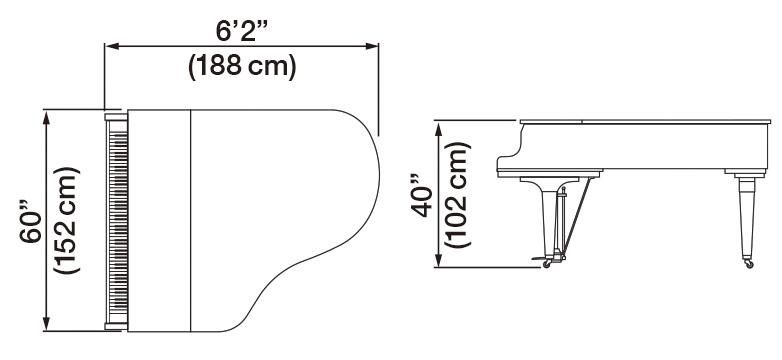 Kawai GL-50 Grand Piano Dimensions