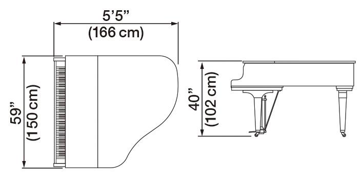 Kawai GL30-ATX2 Hybrid Grand Piano Dimensions