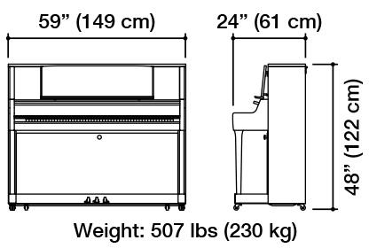 Kawai K-400 Upright Piano Dimensions
