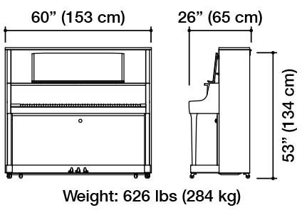 Kawai K-800 Upright Piano Dimensions