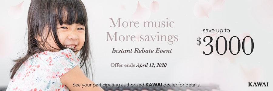 Kawai Piano Instant Rebate March 2020